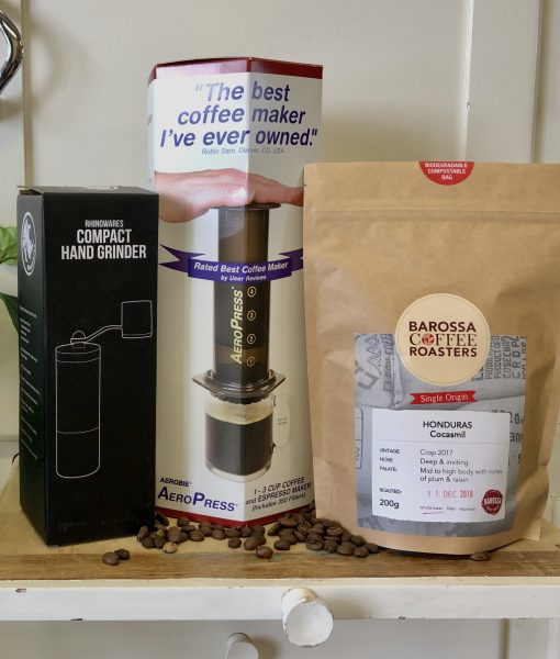 aeropress grinder and beans pack image
